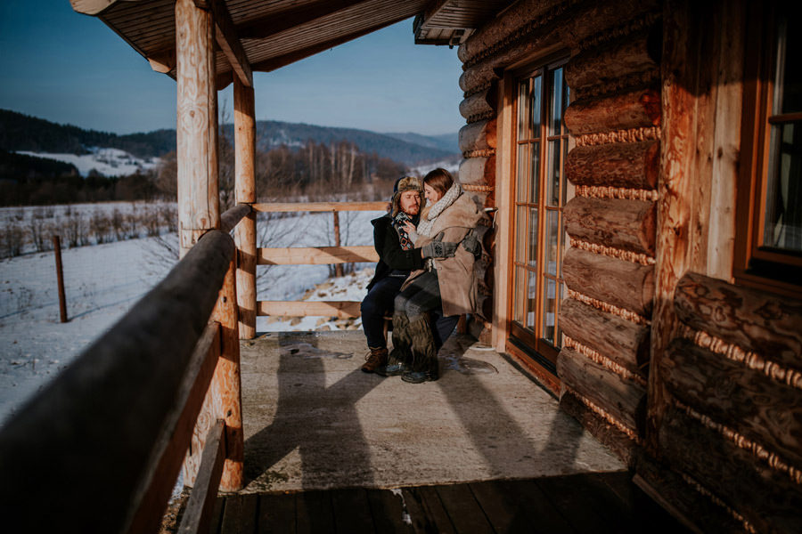 couple portrait in the mountains cabin