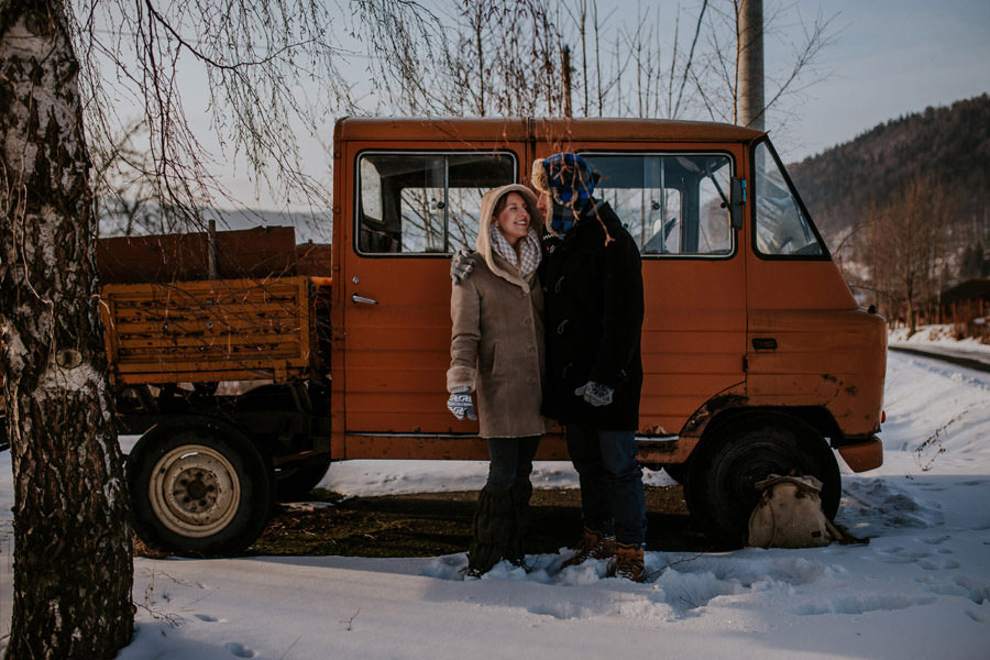 winter couple session with old truck