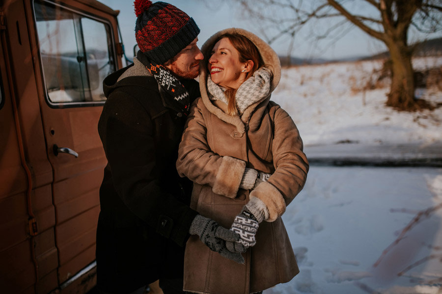 winter evening couple session