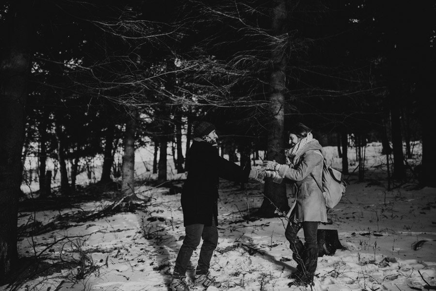 dancing in the woods black and white