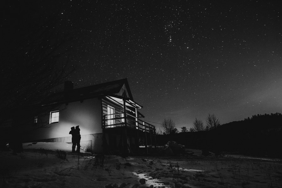 mountains cabin, stars and couple