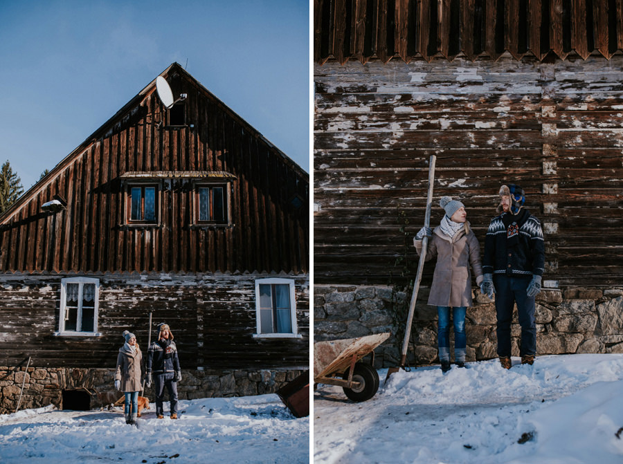 couple and wooden cabin in the morning