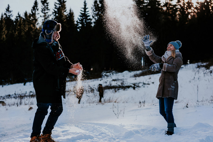 snow fight laughing