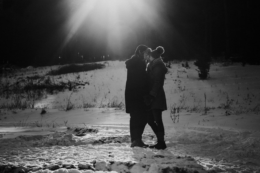 moody winter couple portrait