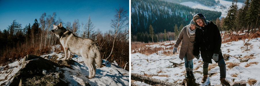 polish winter mountains morning walk with dog