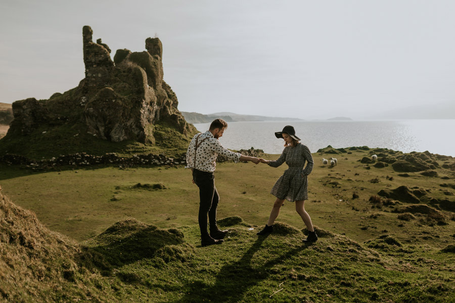Session in ruins of Coeffin castle Scotland